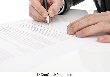 underteckna, närbild, avtal, man