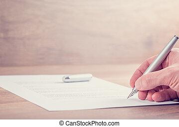 underteckna, närbild, avtal