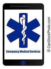 underteckna, nödläge, medicinsk