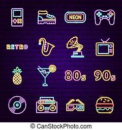underteckna, neon, retro, ikonen