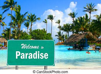 underteckna, paradis, välkommen