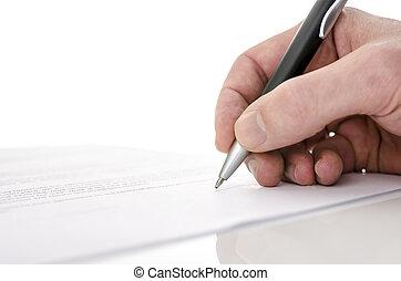 underteckna, specificera, avtal, man