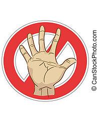 underteckna, stopp, hand