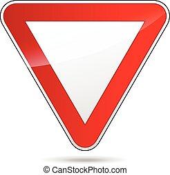underteckna, triangulär, väg, avkasta