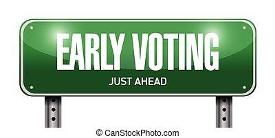 underteckna, väg, tidigt, illustration, omröstning