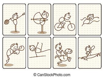 underteckna, vektor, skissera, sport