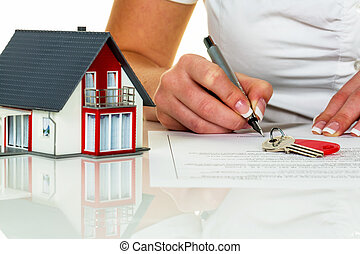 undertecknar, inköp, kvinna, överenskommelse, hus
