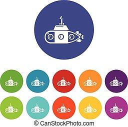 undervands, transport, iconerne, sæt, vektor, farve