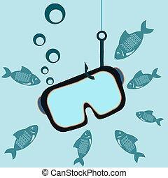 undervattens, maskera, hake, fishes., fiske, dykning