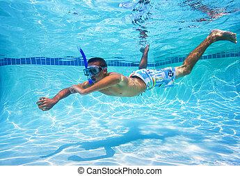 Undervattens, Simning, ung, slå samman,  man