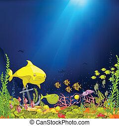 undervattens, tecknad film, ocean