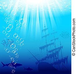 undervattens, värld
