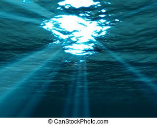 undervattens, yta, genom, hav, solstråle, lysande