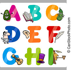 undervisning, cartoon, alfabet, breve, by, børn