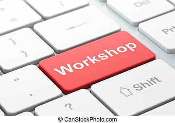 undervisning, concept:, værksted, på, computer klaviatur,...