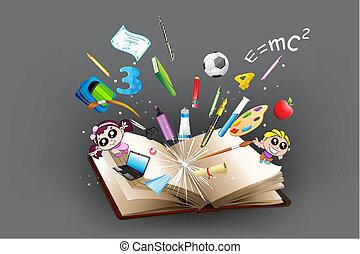 undervisning, genstand, ydre kom, i, bog