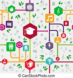 undervisning, iconerne, tilbage til uddanne, seamless,...