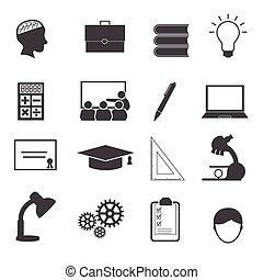 undervisning, sæt, iconerne
