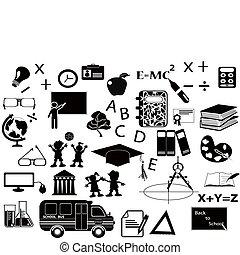 undervisning, sort, ikon, sæt