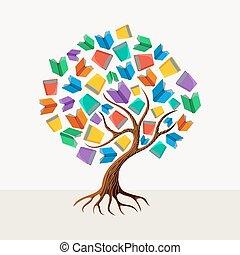 undervisning, træ, bog, begreb, illustration