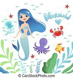 underwater życie, kaprys, ilustracja, tło., wektor, litery, dziewczyna niemowlęcia, ośmiornica, rysunek, syrena