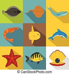 Underwater animal icon set, flat style