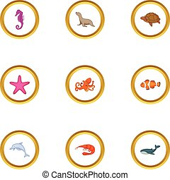 Underwater animal icons set, cartoon style
