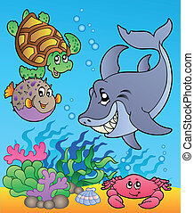 Underwater animals and fishes 1 - vector illustration.