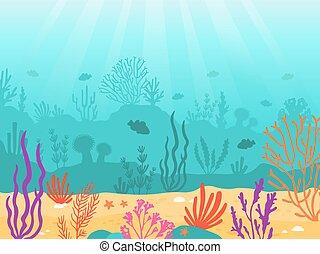 Underwater background. Cartoon seascape with coral reef, sand, seaweed and fish. Ocean bottom scene, deep undersea marine vector landscape