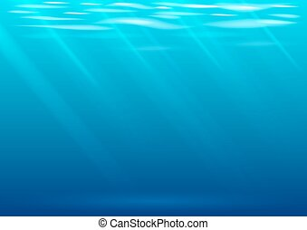 Underwater background in vector graphics. Blue waves and...