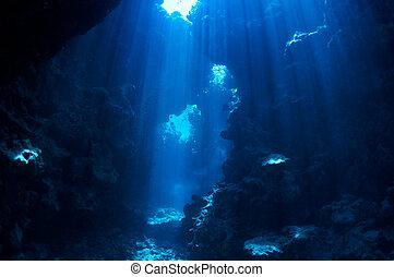 underwater background - underwater landscape. cave in the...