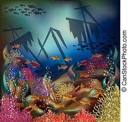 Underwater background sunken ship, vector illustration