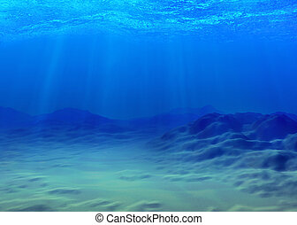 Underwater background with a sandy bottom and sunbeams