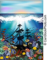 Underwater background with algae, tropical fish and sunken...