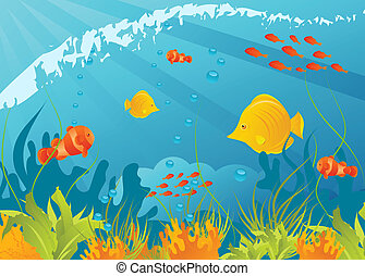 Underwater background with different fishes, algae and...