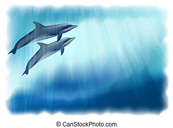 Underwater background with dolphins. Vector illustration