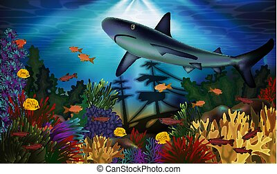 Underwater background with shark and sunken ship, vector...