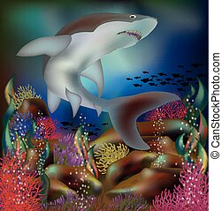Underwater background with shark, vector illustration