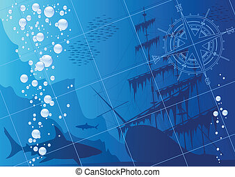 Underwater background with sharks, old ship and compass rose