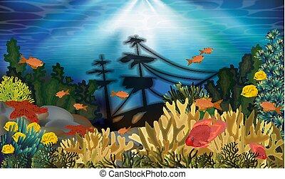 Underwater background with sunken ship, vector illustration