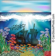 Underwater background with sunken ship, vector illustration