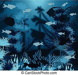 Underwater banner with ship sunken tropical fish, vector illustration