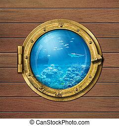 underwater, bathyscaphe, bullauge, oder, u boot