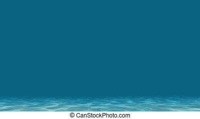 Underwater blue caustic bottom sea on deep light background 4k