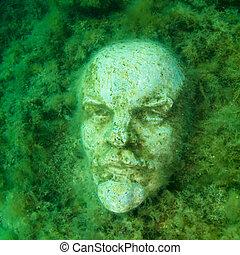 Underwater bust of Lenin in museum, Tarhankut Black sea.