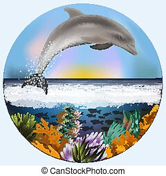 Underwater card with dolphin, vector illustration