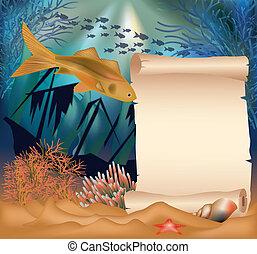 Underwater card with old ship and p