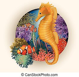 Underwater card with seahorse