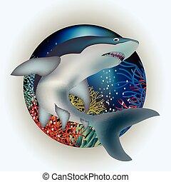 Underwater card with shark, vector