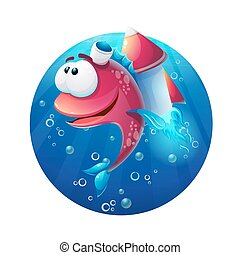 Underwater cartoon funny fish with rocket